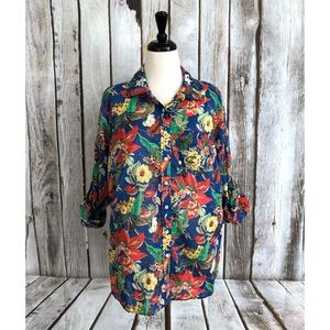Talbots Woman Multicolor Floral Tab Sleeve Blouse